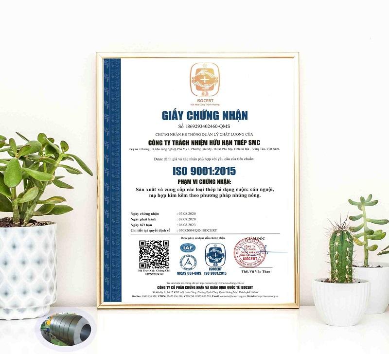 Mẫu giấy chứng nhận phù hợp ISO 9001 - 2